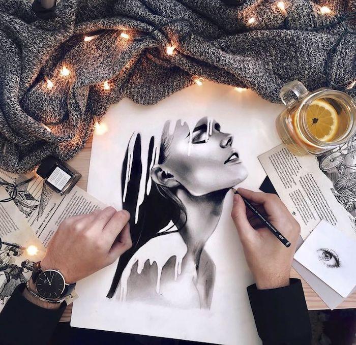 Dessiner de manière réaliste, inspiration dessin femme claire-obscure technique, dessiner une belle femme, comment faire un dessin réaliste en noir et blanc