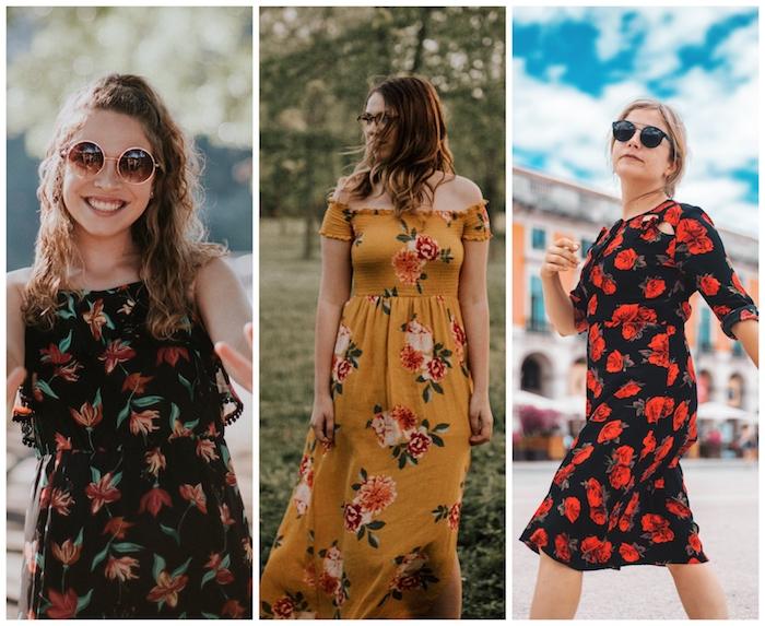 Robe fleurie tendance hiver 2019 2020, couleur tendance 2019, motif pied de poule, robe noire à fleurs rouges