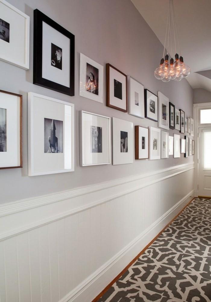 Idée décoration mur bicolore, tapis taupe couloir long et étroite, lampes led cool, idée comment décorer son couloir étroit