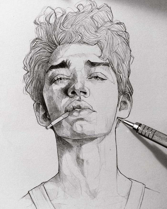 Garçon image dessin noir et blanc, dessiner un visage homme, dessin réaliste avec les différentes cheveux, yeux, lèvres, nez, dessin visage photo-réaliste