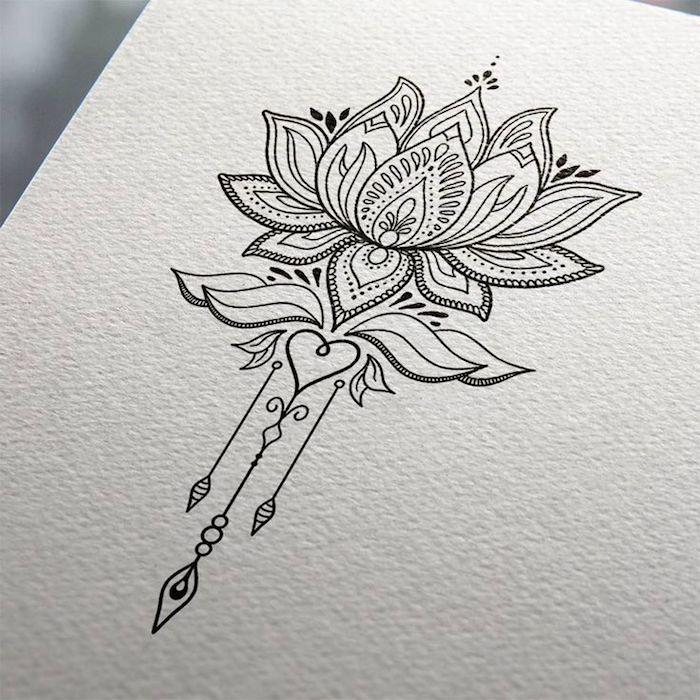 Dessin tatouage cheville femme, le plus beau tatouage femme, le fleur de lotus sacré dessin à motif avec un coeur au dessus