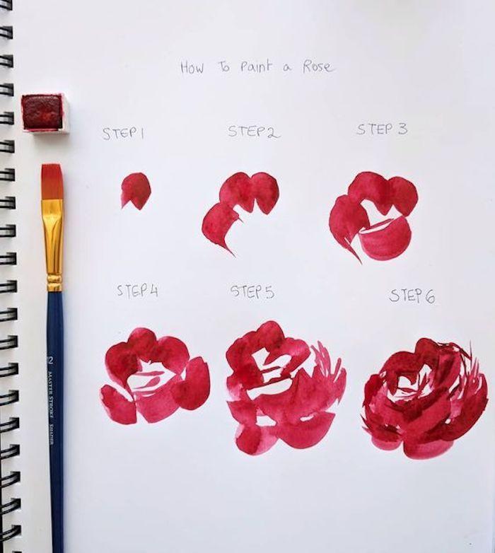 Étapes pour dessiner une rose en peinture rouge aquarelle, reproduire un dessin, beau dessin a dessiner
