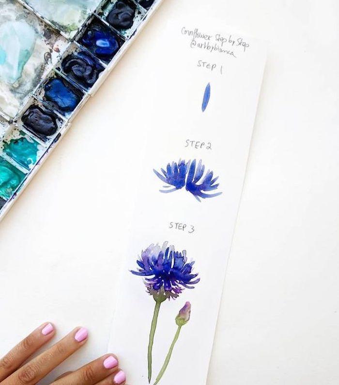 Fleur champêtre jolie dessin à l'aquarelle étape par étape, apprendre a dessiner etape par etape facile
