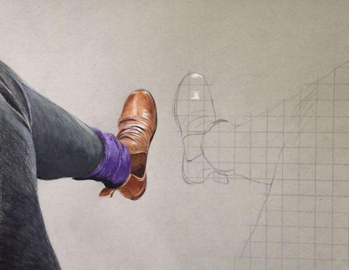 Dessin en progresse en perspective, pieds d'homme dessin 3d, dessin au crayon, respecter les perspectives