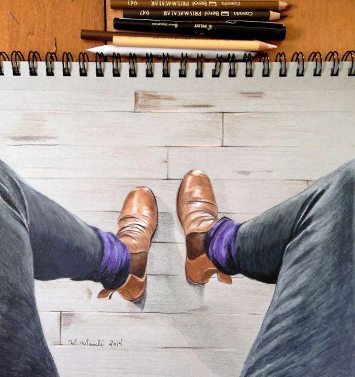 Pieds et chaussures dessin, dessiner un homme, dessin au crayon, dessin d'homme en perspective