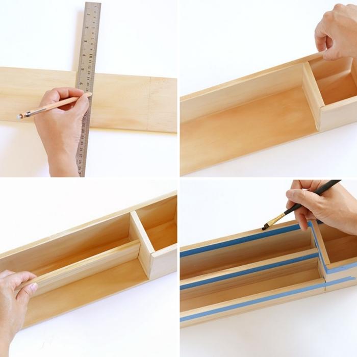 pas à pas pour construire un pot à crayon design bois, idée comment faire un pot à crayon et papier en bois
