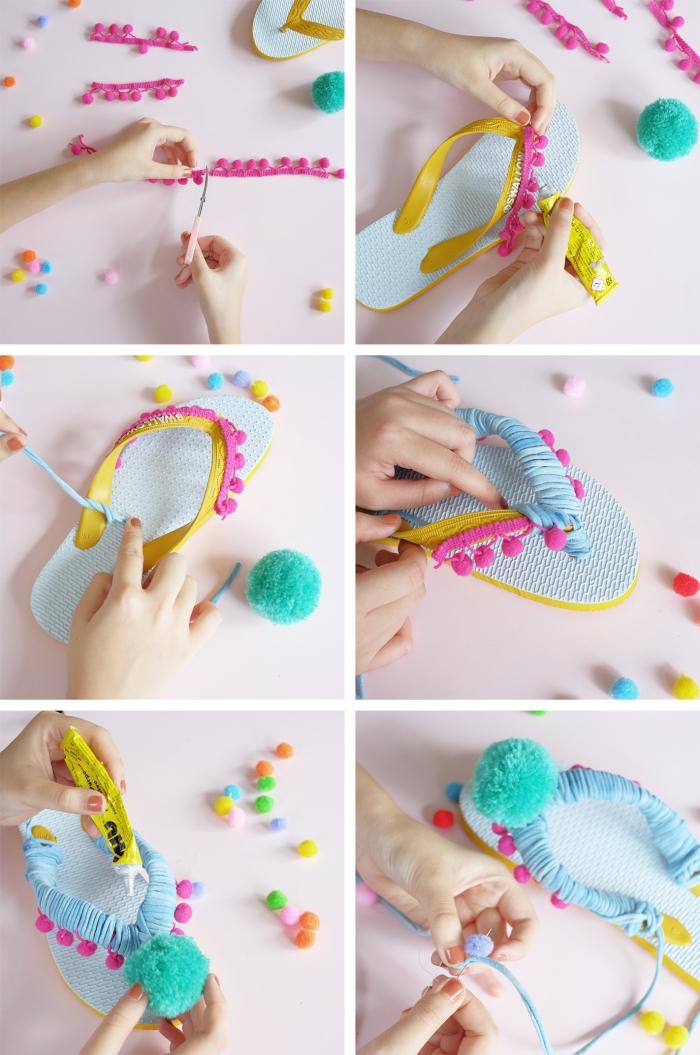 idée créative été, personnalises ses chaussures, exemple comment décorer ses tongs avec mini bordure en pompons