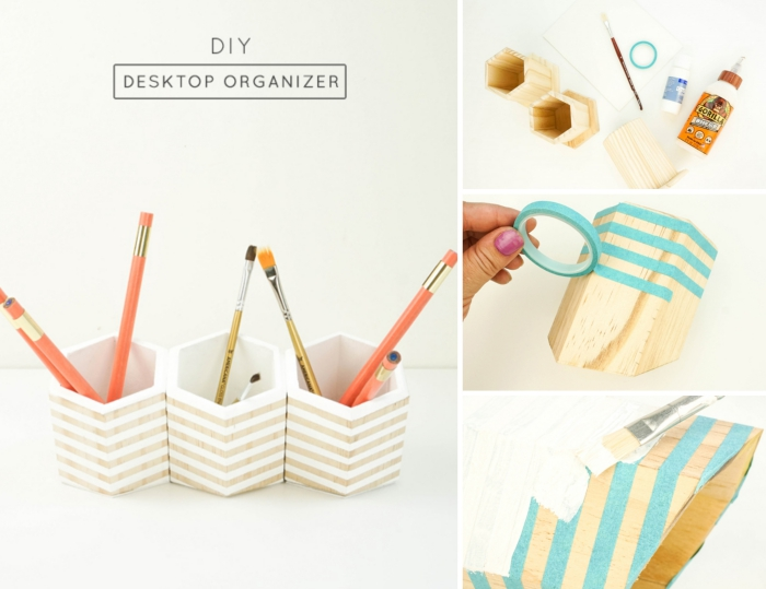 modèle de pot à crayon DIY à design bois et blanc, exemple comment customiser un accessoire avec peinture