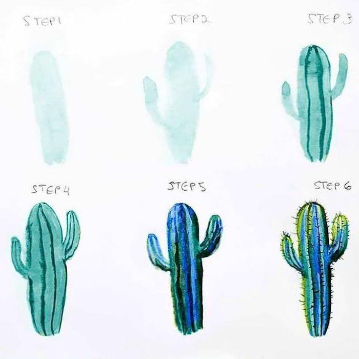 Cactus vert peinture à l'aquarelle, apprendre a dessiner etape par etape, modèle à dessiner en 6 pas
