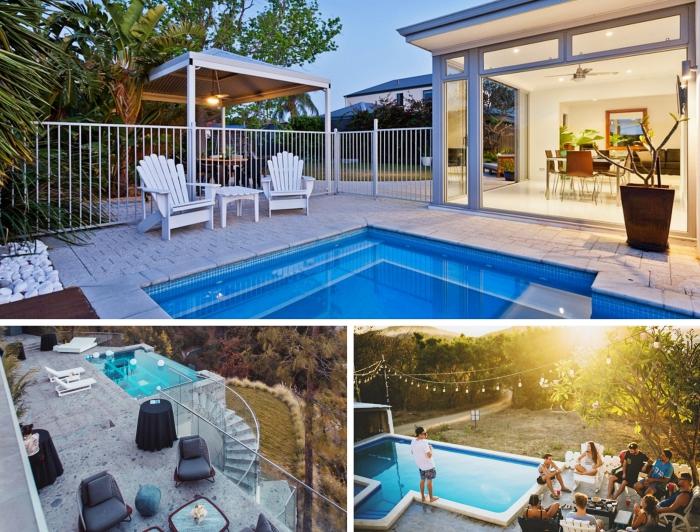 déco piscine avec meubles bois, modèle cuisine extérieur moderne, idée aménagement autour de piscine extérieure