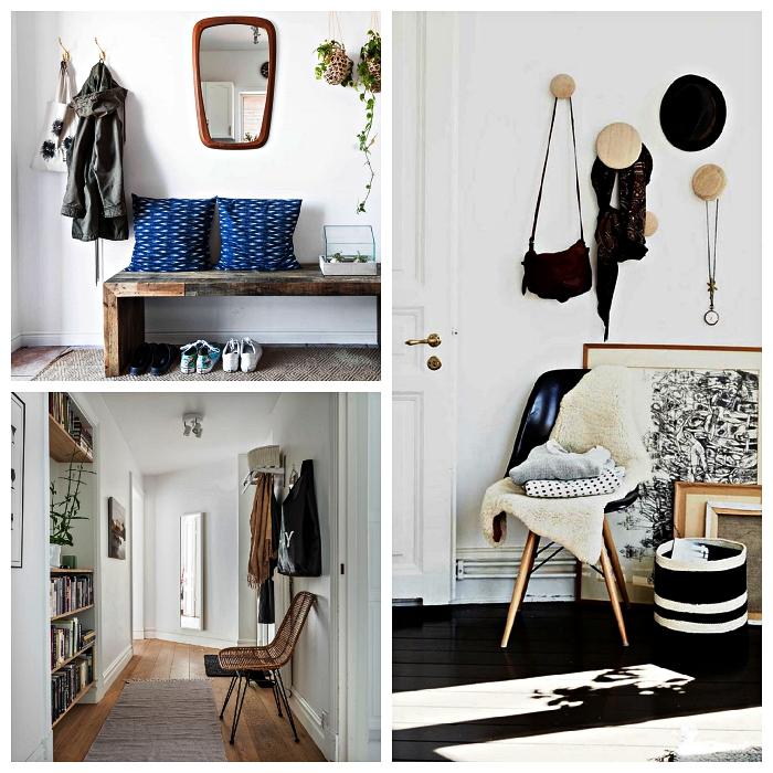 conseils et astuces pour réussir son aménagement d'entrée, décoration d'entrée style scandinave en bois et blanc
