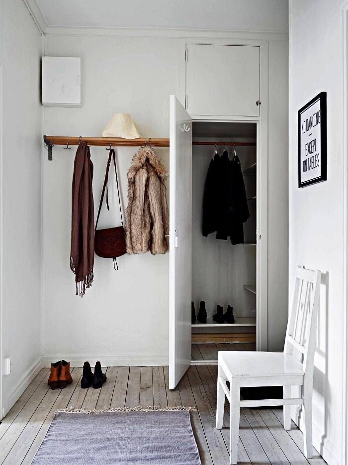 petite entrée scandinave avec placard intégré qui se fond dans le déco et un porte-manteau mural en bois