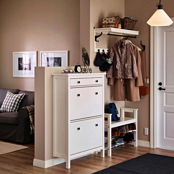 aménagement d'un petit hall d'entrée avec meuble à chaussures gain de place et un porte-manteaux mural