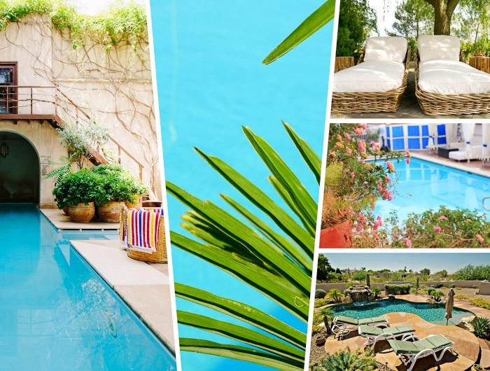 exemple comment décorer l'espace autour de la piscine avec plantes, déco bord de la piscine avec chaise longue