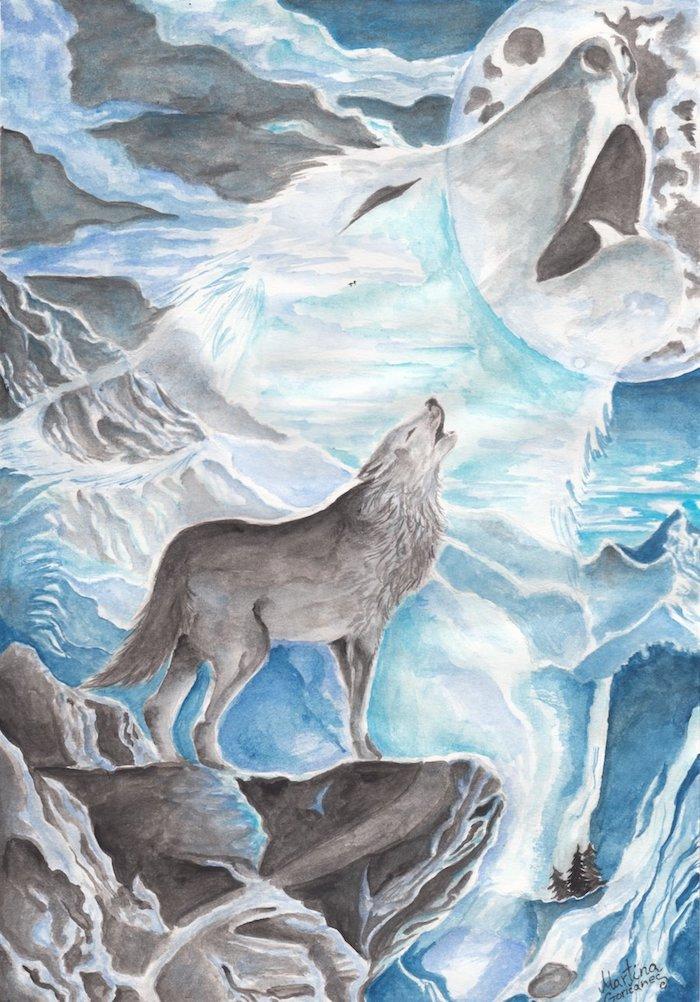loup qui hurle perché sur un rocher au bord d une falaise avec une tete de loup polaire sur le fond au clair de le lune