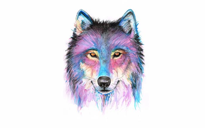 dessin aquarelle facile aux couleurs doluées, tete de lip en peinture, violet, jaune, mauve, noir et violet, tete animal