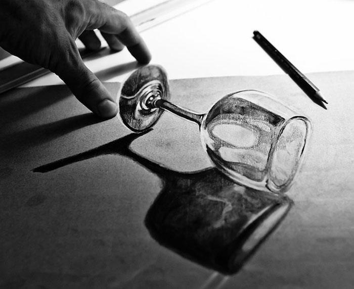 Inspiration dessin objet, dessin réaliste de verre de vin, respecter les proportions, art photoréalisme noir et blanc photo de dessin