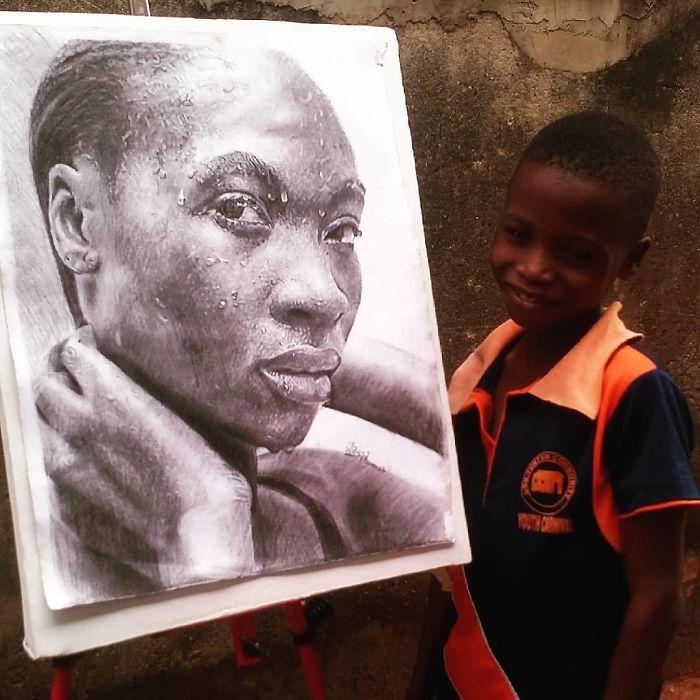 Garçon 11 ans fait des portraits réalistes, magnifique dessin noir et blanc realiste, comment dessiner une fille, dessiner un visage