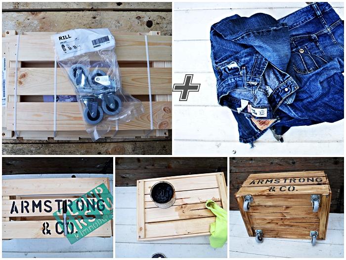 comment fabriquer un pouf de rangement avec cageot en bois et une assise en vieux jean recyclé
