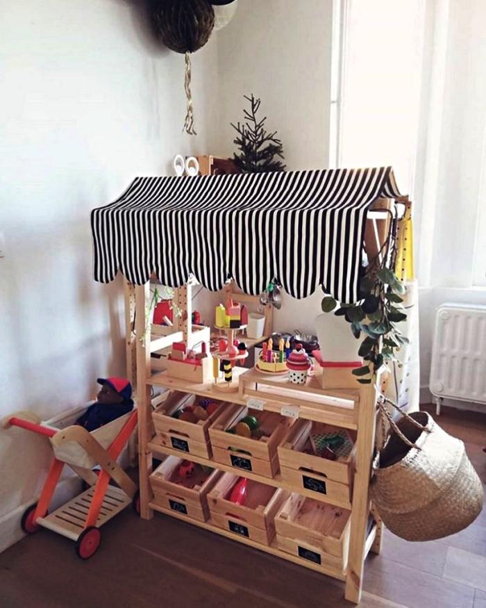 bidouilles ikea boite rangement knagglig, fabriquer un stand de marché pour enfant avec des caisses en bois