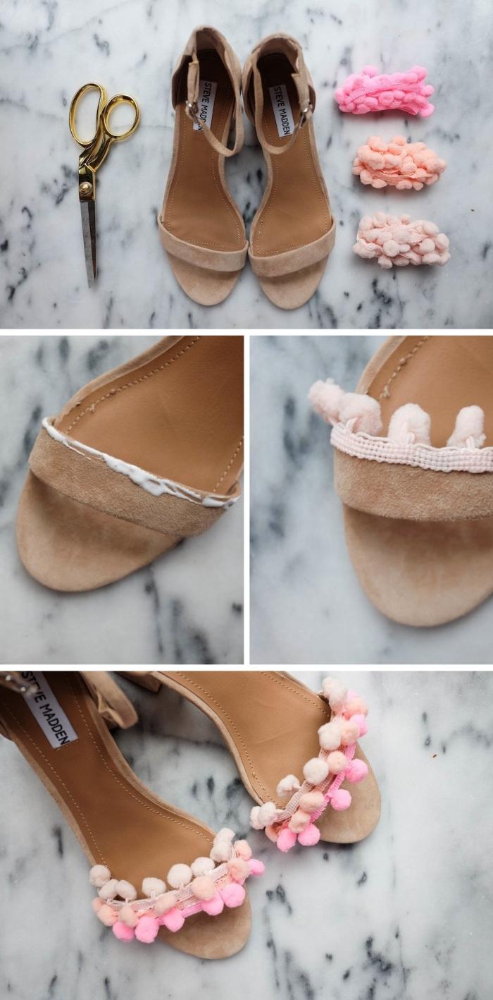 activité créative, comment décorer ses sandales avec mini bordure à pompons, paire de chaussures personnalisées