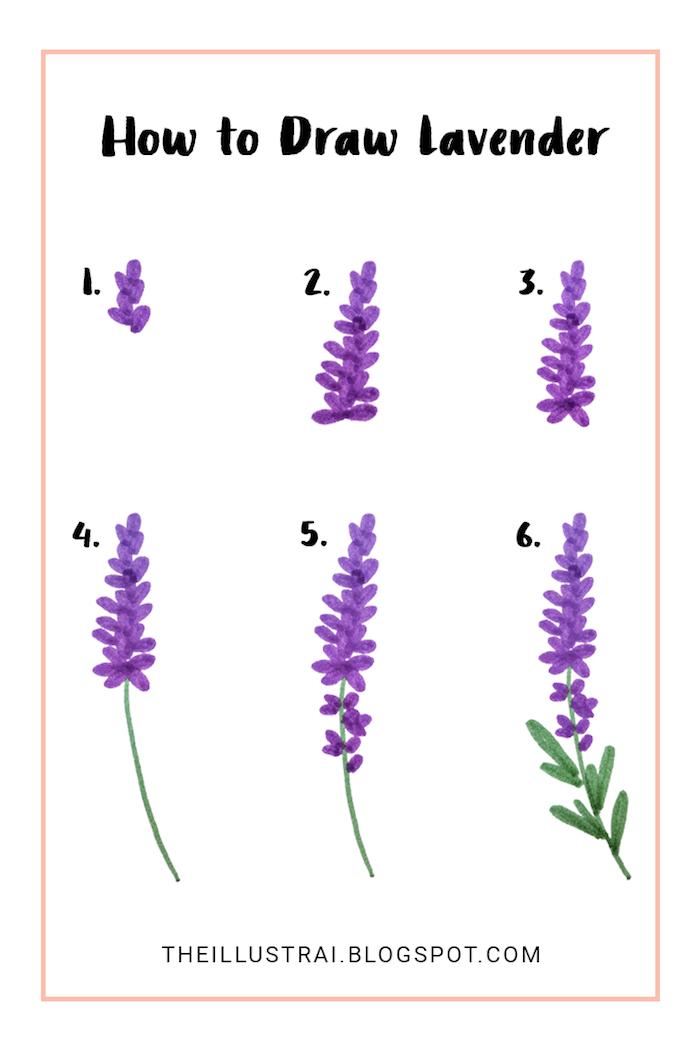 Dessin lavande par étapes, feutre violet et feutre vert, comment créer un dessin de fleur simple beau dessin facile, apprendre a dessiner facilement
