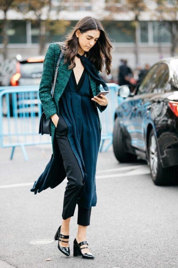 Combinaison noir satin habillée, manteau vert cool, pied de poule, quelles sont les meilleures tendances de l'année
