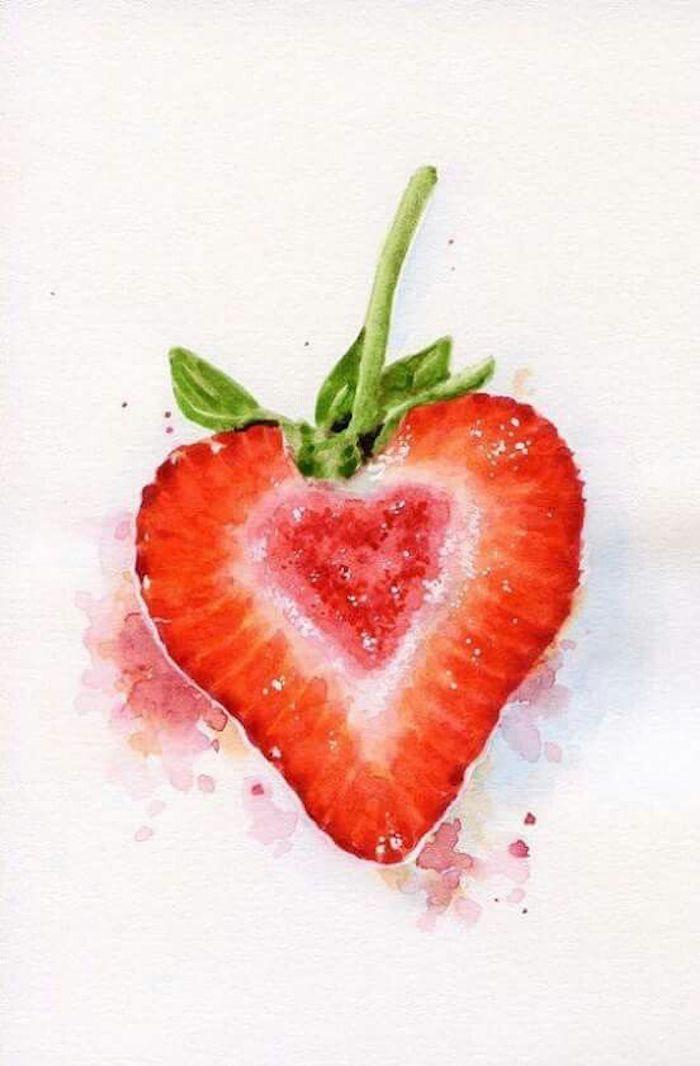 Fraise coeur dessin original à l'aquarelle, comment bien dessiner une fraise, dessins à reproduire facilement