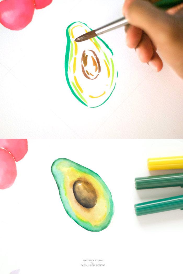 Avocat à l'aquarelle, comment dessiner pour débutant, exemple de beau dessin d'avocat simple à réaliser, main avec pinceau