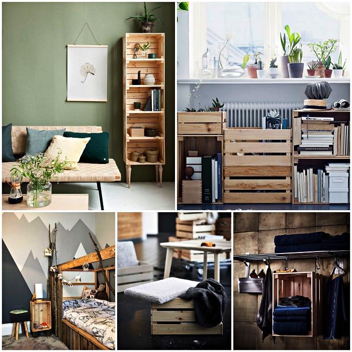 ikea hacks avec des caisses en bois ikea détournées en étagères, tables de chevet ou coffres de rangement