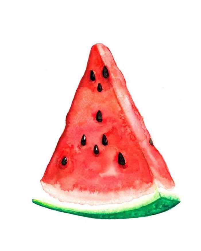 Comment dessiner un morceau de pastèque, melon a eau simple dessin apprendre a dessiner facilement, dessin tatouage facile