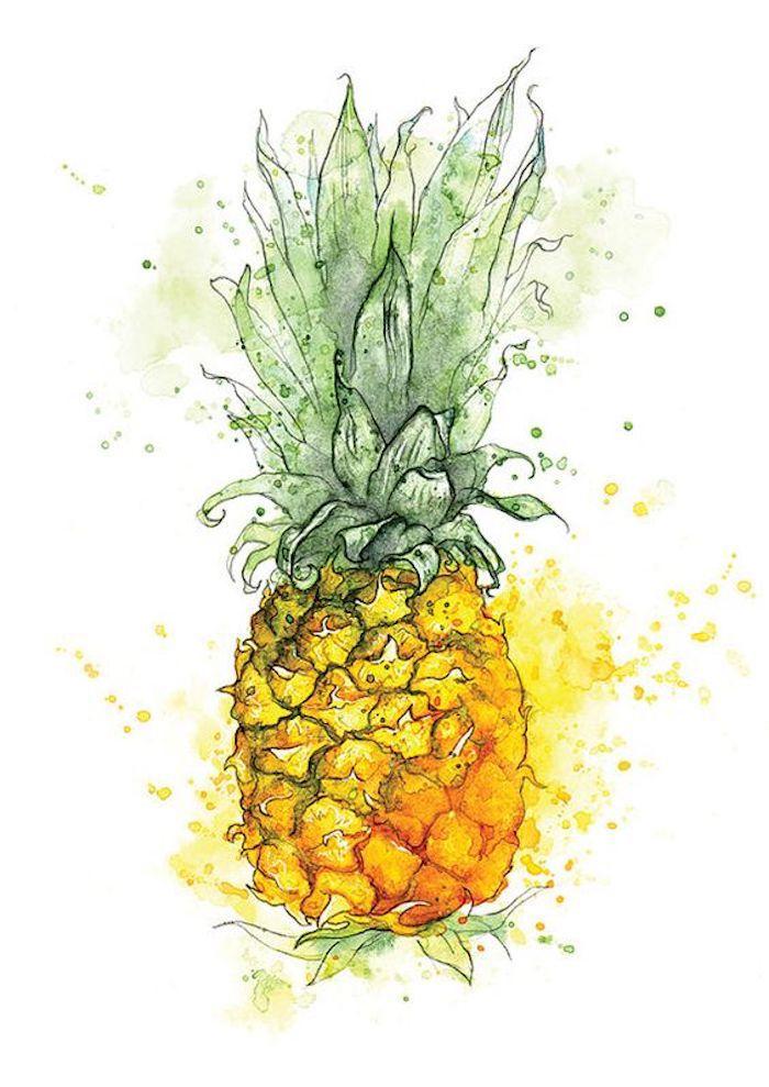 Ananas jaune et vert magnifique peinture à l'aquarelle, comment décalquer une image, dessin très beau