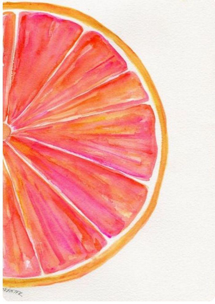 Morceau d'orange, belle peinture à l'aquarelle pour débutants, exemple de dessin, images facile à dessiner