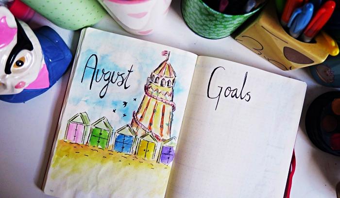 dessin bullet journal à l'aquarelle pour personnaliser une page de garde, idée pour customiser son agenda