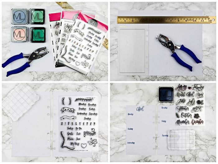 customiser son agenda avec des tampons lettres, noms des jours de la semaine et bannières, exemple de mise en page de l'agenda hebdomadaire