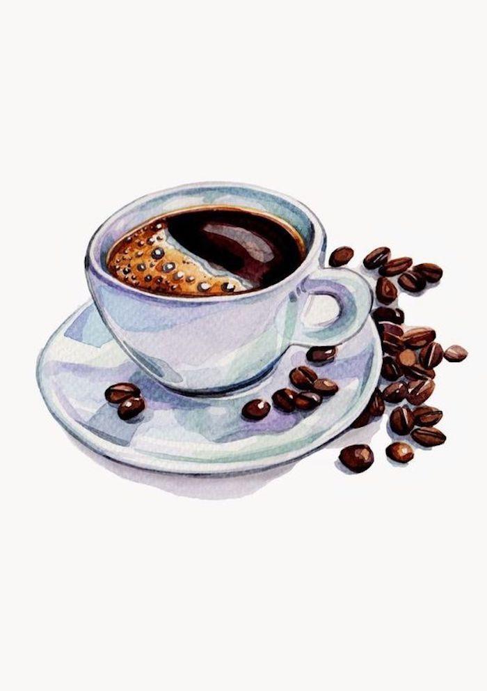 Café noir dessin à l'aquarelle, beau dessin facile, apprendre a dessiner facilement, café dessin