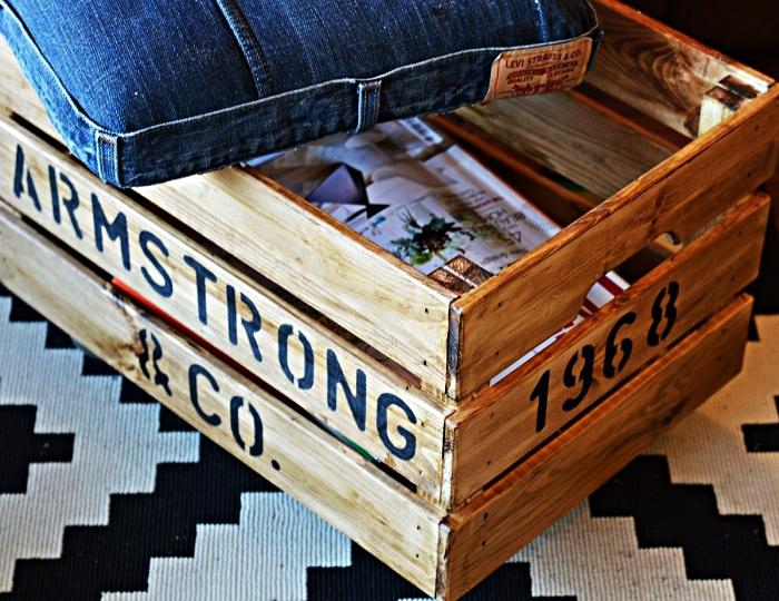 une coffre de rangement en cagette bois avec assise en jean recyclé, fabriquer un pouf avec rangement à partir d'une caisse knagglig de chez ikea