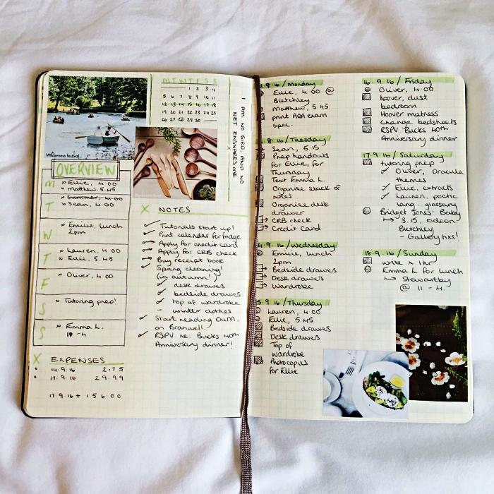 cahier bullet journal personnalisé avec des listes et des notes accompagnées de petites illustrations