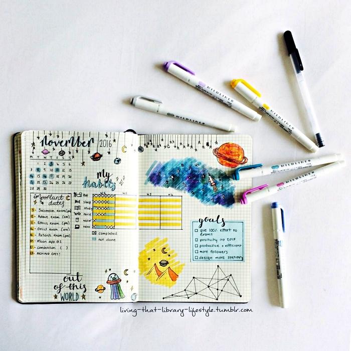 exemple de mises en page d'un planning mensuel pour commencer un bullet journal, page double d'un bullet journal avec calendrier mensuel et petites illustrations sur le thème de l'espace