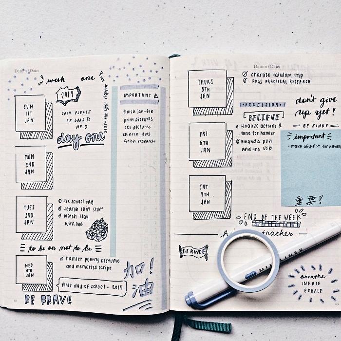 exemple bullet journal minimaliste personnalisé avec petits dessins réalisé au stylo à pointe fine, planning de la semaine avec événements et tâches importantes