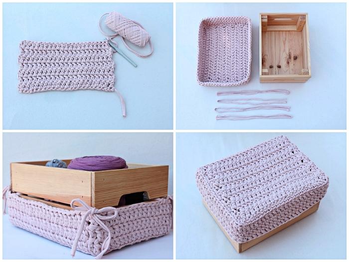 caisse en bois deco détourné en panier de rangement pour matériel de couture avec couvercle rose au crochet