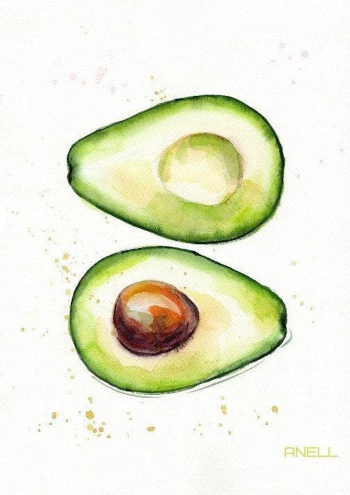 Avocat belle peinture à l'aquarelle, noix brune et fruit vert, beau dessin a dessiner, photo de dessin facile