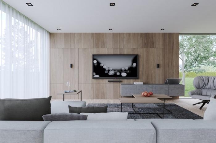 exemple de lambris bois large, design salon moderne en blanc et gris avec accents bois, modèle canapé salon moderne