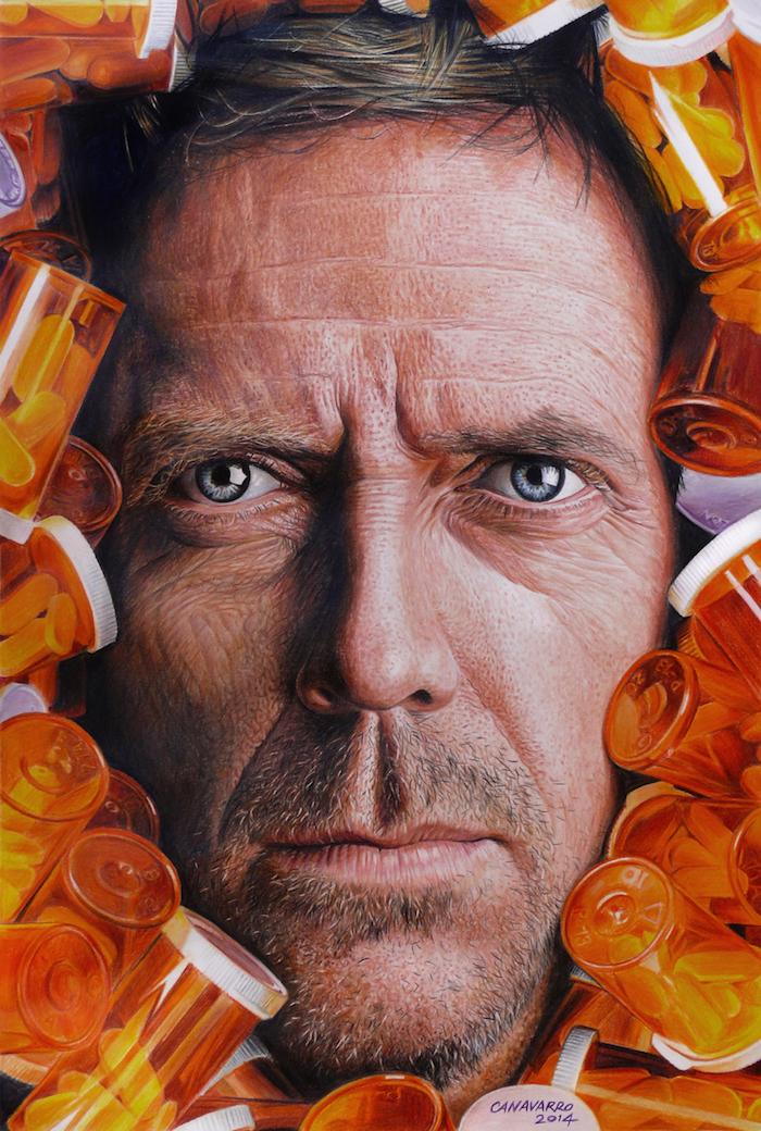 House md dessin aux crayons colorés, comment bien dessiner en comprenant les contrastes, portrait d'homme photo-réaliste