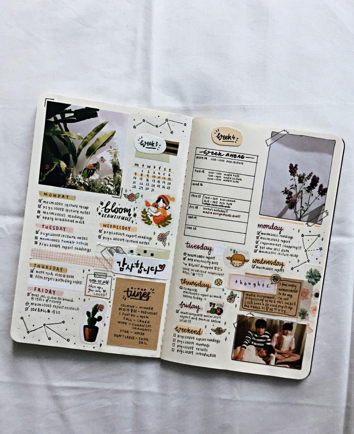 deco bullet journal avec stickers, illustrations découpées et de petits dessins