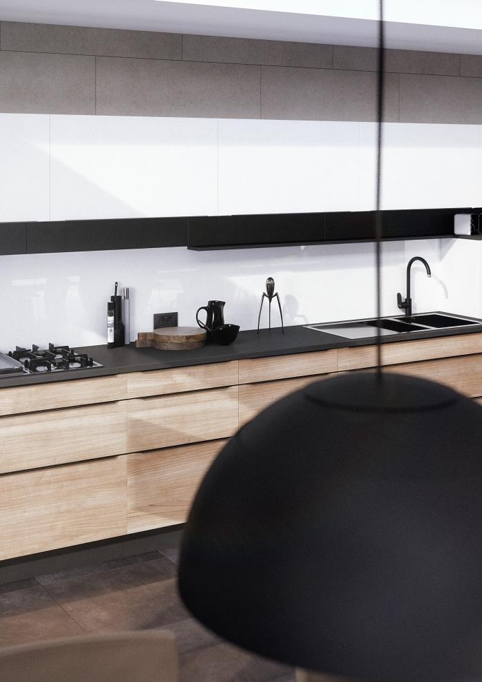 décoration de cuisine blanc et bois avec plan de travail noir, idée agencement cuisine moderne en longueur