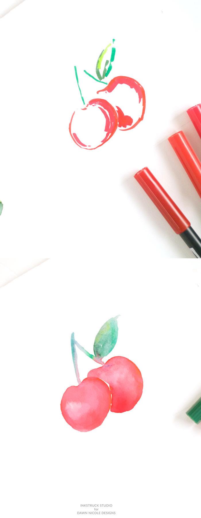 Comment dessiner une cerise avec feutres rouges et verts, faire un effet à l'aquarelle, comment dessiner des dessin, dessins à reproduire
