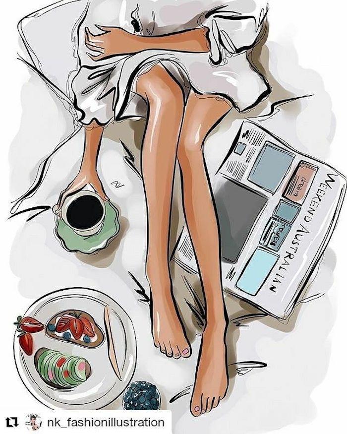 Magnifique peinture de chambre bohème chic, fille au lit dessin facile à reproduire, apprentissage dessin, boire son café et déjeuner au lit