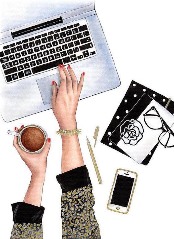 Ordinateur mains de fille, dessins à reproduire, idée comment dessiner des dessin iphone et fille qui bureau à domicile