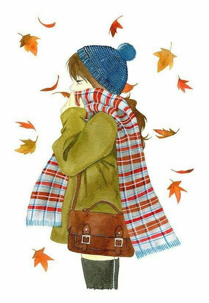 Fille habillée bien pour l'automne dessin aquarelle, comment copier intelligemment un dessin, feuilles d'automne, écharpe carrée